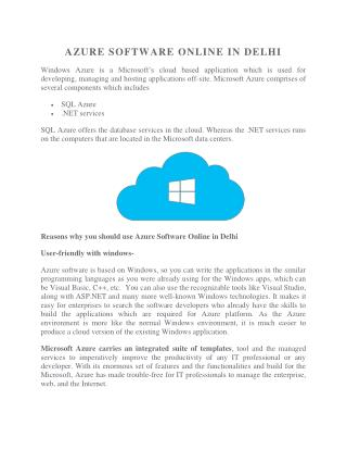Azure Software Online in Delhi