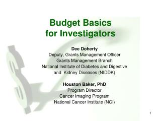 Budget Basics for Investigators