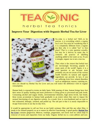 Improve Your Digestion with Organic Herbal Tea for Liver