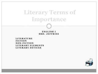 Literary Terms of Importance