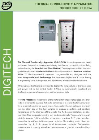 Thermal Conductivity Apparatus - Digitech Roorkee