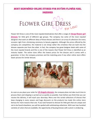 Most Renowned Online Stores for Buying Flower Girl Dresses
