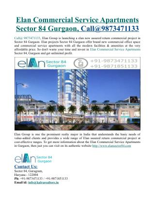 Elan Commercial Service Apartments Sector 84 Gurgaon, Call@9873471133
