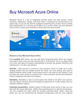 Buy Microsoft Azure Online