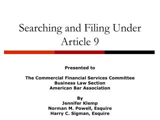 Searching and Filing Under Article 9