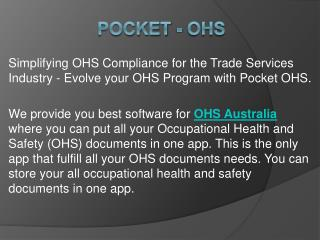 Software for OHS Australia - Pocket OHS