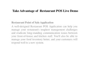 Take Advantage of  Restaurant POS Live Demo