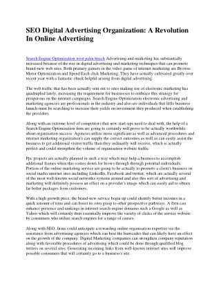 SEO Digital Marketing Agency: A Reformation In Online Advertising