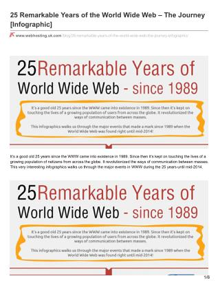 25 Remarkable Years of the World Wide Web – The Journey