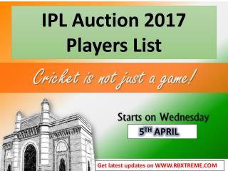 IPL Auction 2017 & IPL 2017 Auction