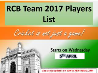 RCB Team 2017 Players List & RCB Team 2017