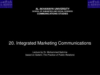 20. Integrated Marketing Communications