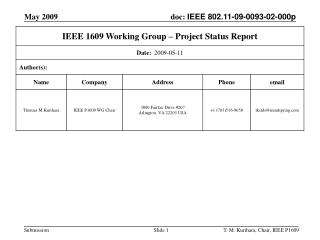 IEEE P1609 Working Groups Status