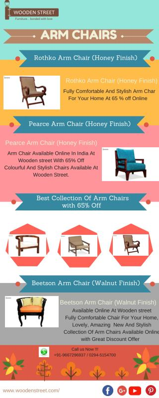 Arm Chairs For Home Online: wooden Arm Chairs With 65%off