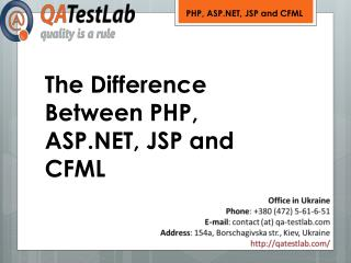 The Difference Between PHP, ASP.NET, JSP and CFML