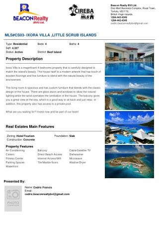 Ixora Villa residential property for sale in British virgin Islands.