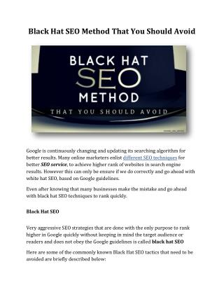 Black Hat SEO Method That You Should Avoid