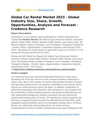 Global Car Rental Market 2023 - Global Industry Size, Share, Growth, Opportunities, Analysis and Forecast - Credence Res