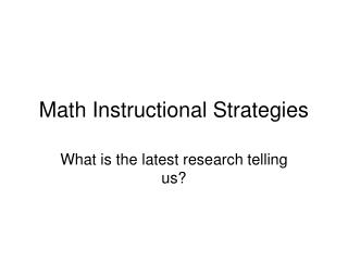 Math Instructional Strategies
