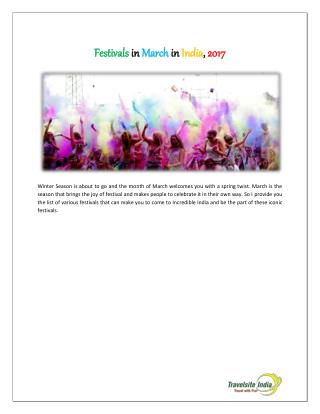 Festivals In March In India, 2017