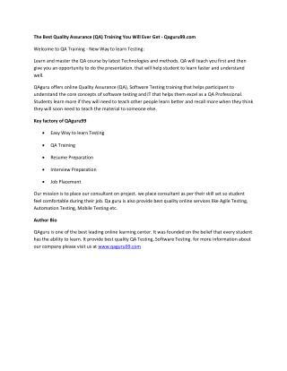 Quality Assurance | Digital Marketing | Online Learning Center