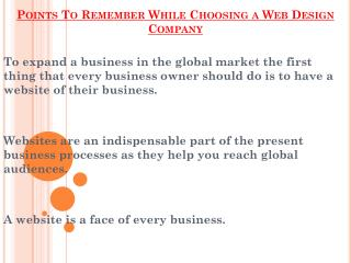 Points To Remember While Choosing a Web Design Company
