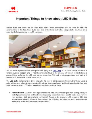 Important things to know about LED bulbs