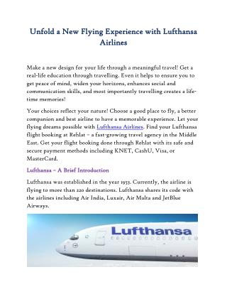 Unfold a New Flying Experience with Lufthansa Airlines