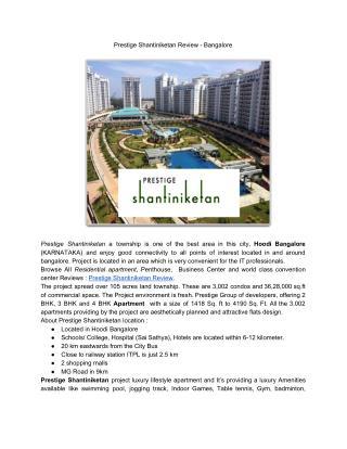 Prestige Shantiniketan Review - Bangalore