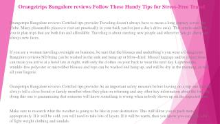 Orangetrips Bangalore reviews Follow These Handy Tips for Stress-Free Travel