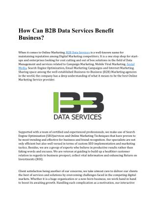How Can B2B Data Services Benefit Business?