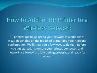 How to Add an HP Printer to a Wireless Network