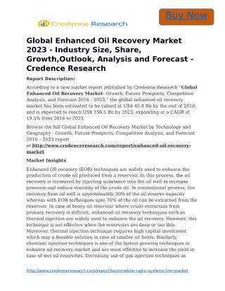 Global Enhanced Oil Recovery Market 2023 - Industry Size, Share, Growth,Outlook, Analysis and Forecast - Credence Resea