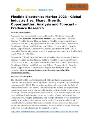 Flexible Electronics Market 2023 - Global Industry Size, Share, Growth, Opportunities, Analysis and Forecast - Credence
