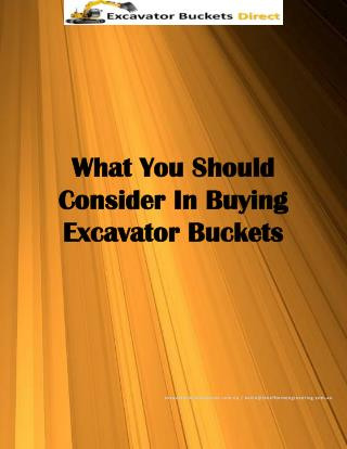 What You Should Consider In Buying Excavator Buckets