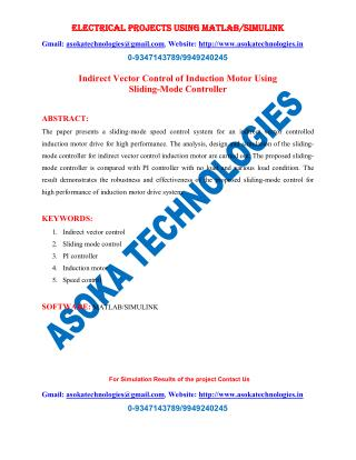 Indirect Vector Control of Induction Motor Using Sliding-Mode Controller