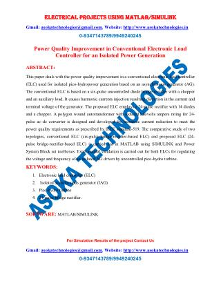 Power Quality Improvement in Conventional Electronic Load Controller for an Isolated Power Generation