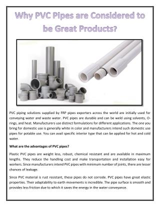 Why PVC Pipes are Considered to be Great Products?