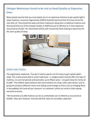 Cheaper Mattresses Found to be Just as Good Quality as Expensive Ones