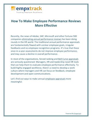 How to Make Employee Performance Reviews More Effective