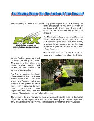 FoxMowingQLD Brings You the Garden of Your Dreams