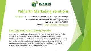 Yatharth Marketing Solutions - Sales training provider company