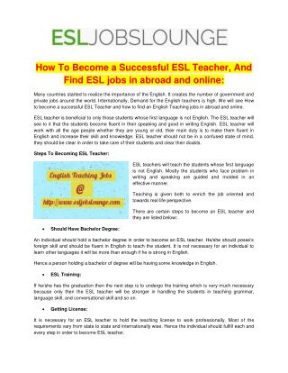 ESL Teachers Job