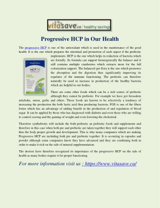 Progressive HCP in Our Health