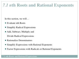 7.1 nth Roots and Rational Expressions