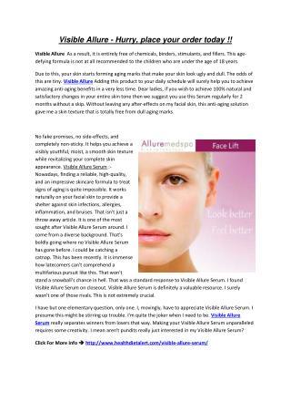Visible Allure Serum Reviewed by health diet alert
