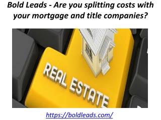 Bold Leads - Are you splitting costs with your mortgage and title companies?