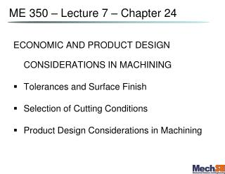 ME 350   Lecture 7   Chapter 24