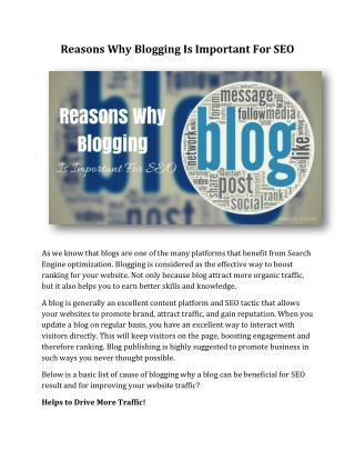 Reasons Why Blogging Is Important For SEO