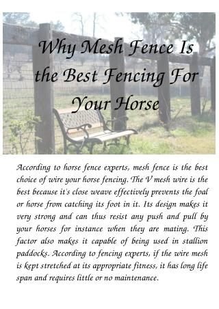 Why Mesh Fence Is the Best Fencing For Your Horse